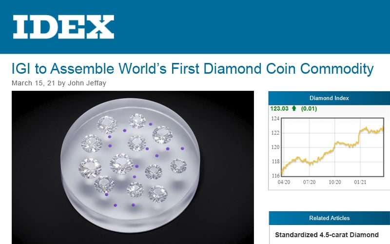 IDEX covers IGI's First Ever Diamond Commodity